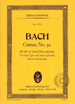 Cantata Ich Hab In Gottes Herz Und Sinn BWV 92 - laflutedepan.com