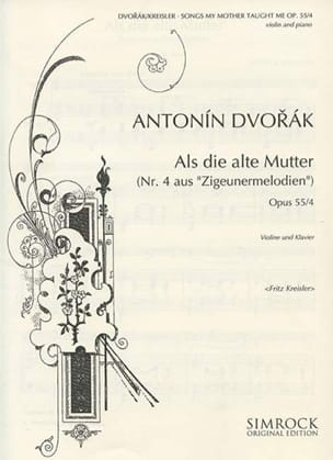 Songs my mother taught me op. 55 n° 4 DVORAK Partition laflutedepan