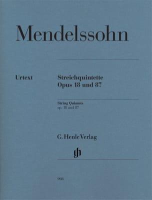 Quintettes à Cordes Opus 18 et 87 MENDELSSOHN Partition laflutedepan