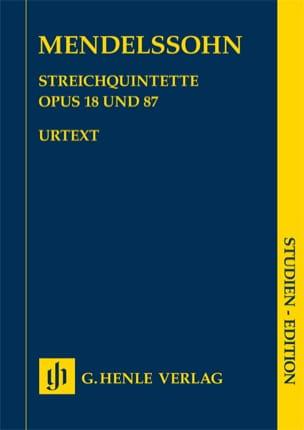 Quintettes à cordes op. 18 et 87 MENDELSSOHN Partition laflutedepan