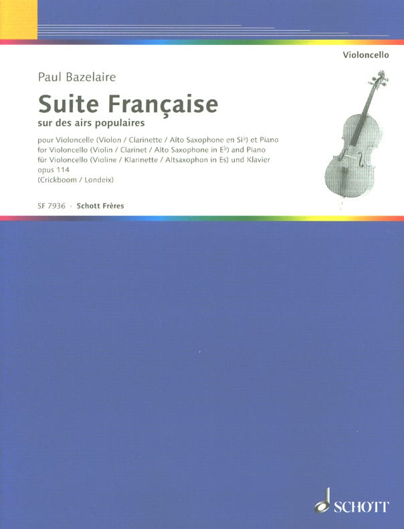 Suite francaise op. 114 - Violoncelle - laflutedepan.com