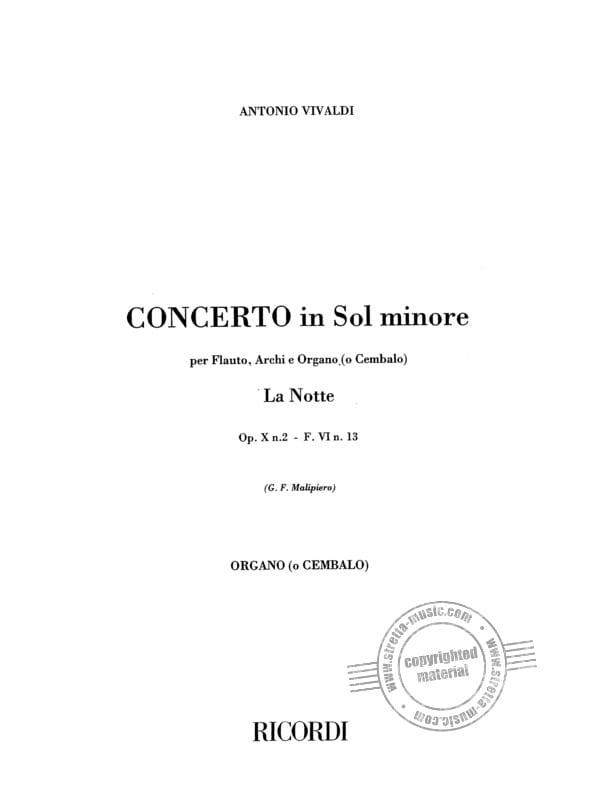 Concerto in sol minore La Notte F 6 n° 13 RV 439 op. 10 n° 2 -Set - laflutedepan.com