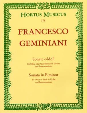Sonate en mi mineur Francesco Geminiani Partition laflutedepan