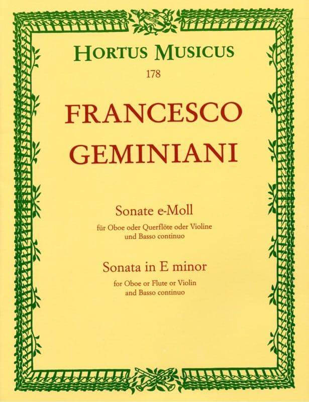 Sonate en mi mineur - Francesco Geminiani - laflutedepan.com