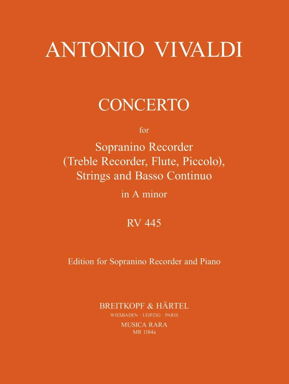 Concerto Rv 445 en la Mineur F 6 N° 9 - VIVALDI - laflutedepan.com