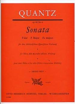 Sonata Op. 3 N° 6 F-Dur QUANTZ Partition Flûte à bec - laflutedepan
