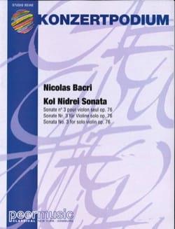 Kol Nidrei Sonata Nicolas Bacri Partition Violon - laflutedepan
