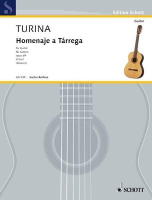 Homenaje à Tarrega Opus 69 TURINA Partition Guitare - laflutedepan