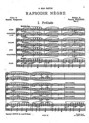 Rhapsodie Nègre - Conducteur - POULENC - Partition - laflutedepan.com
