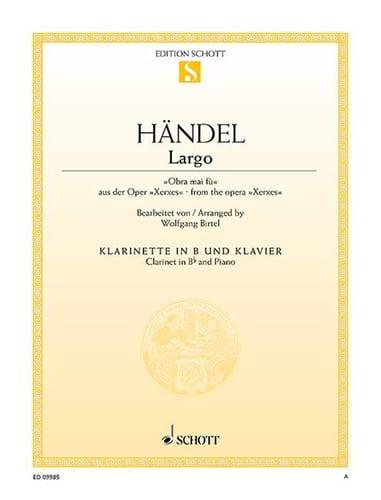 Largo - HAENDEL - Partition - Clarinette - laflutedepan.com