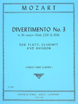 Divertimento n° 3 KV 439c in Bb major - Parts MOZART laflutedepan