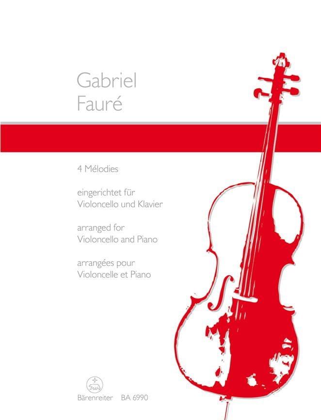 4 Mélodies - FAURÉ - Partition - Violoncelle - laflutedepan.com