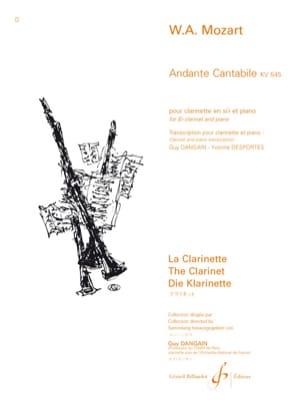 Andante Cantabile KV 545 - Clarinette MOZART Partition laflutedepan
