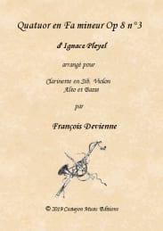 Quatuor en fa mineur, opus 8 n° 3 Ignaz Pleyel Partition laflutedepan