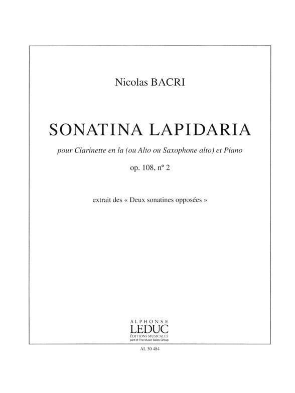 Sonatina Lapidaria Op.108 N°2 - Nicolas Bacri - laflutedepan.com