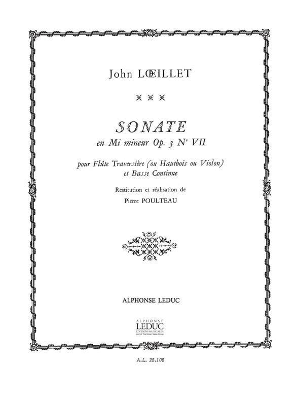 Sonate En Mi Mineur Opus 3 N° 7 - laflutedepan.com