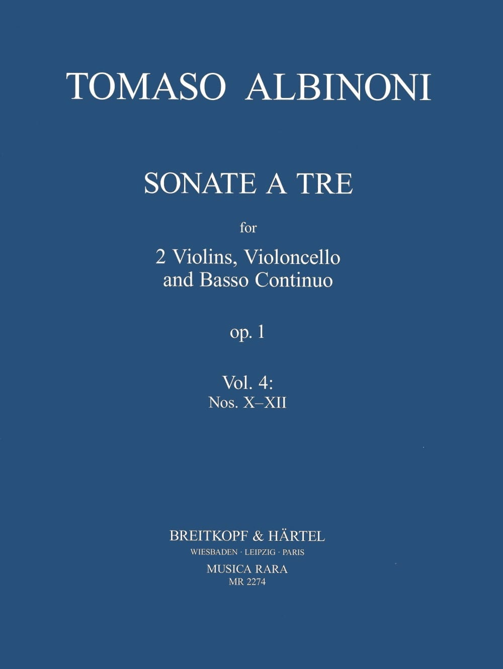 Sonata a tre op. 1 - Volume 4: X-XII - ALBINONI - laflutedepan.com