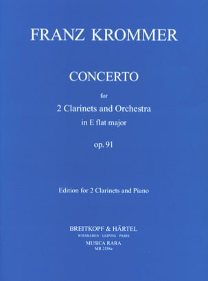 Concerto In Eb Op. 91 - 2 Clarinets Piano KROMMER laflutedepan