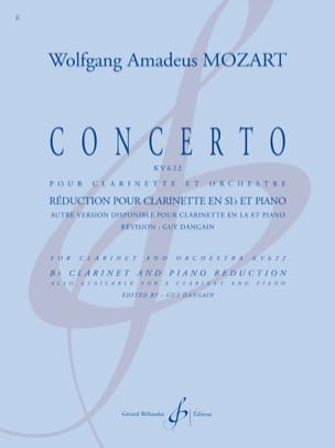 Concerto KV 622 - Clarinette sib MOZART Partition laflutedepan