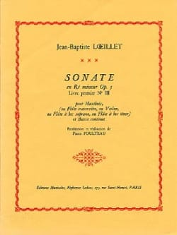 Sonate en ré mineur op. 5 LOEILLET Partition Hautbois - laflutedepan