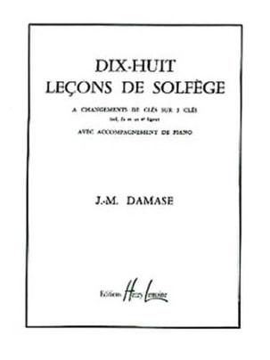 18 Leçons de solfège - 3 Clés A/A Jean-Michel Damase laflutedepan