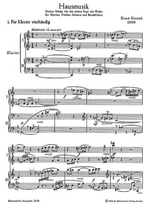 Hausmusik op. 172 Ernst Krenek Partition Quatuors - laflutedepan