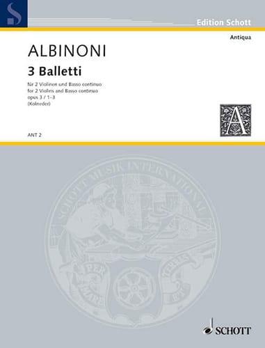 3 Balletti - op. 3 n° 1-3 - ALBINONI - Partition - laflutedepan.com