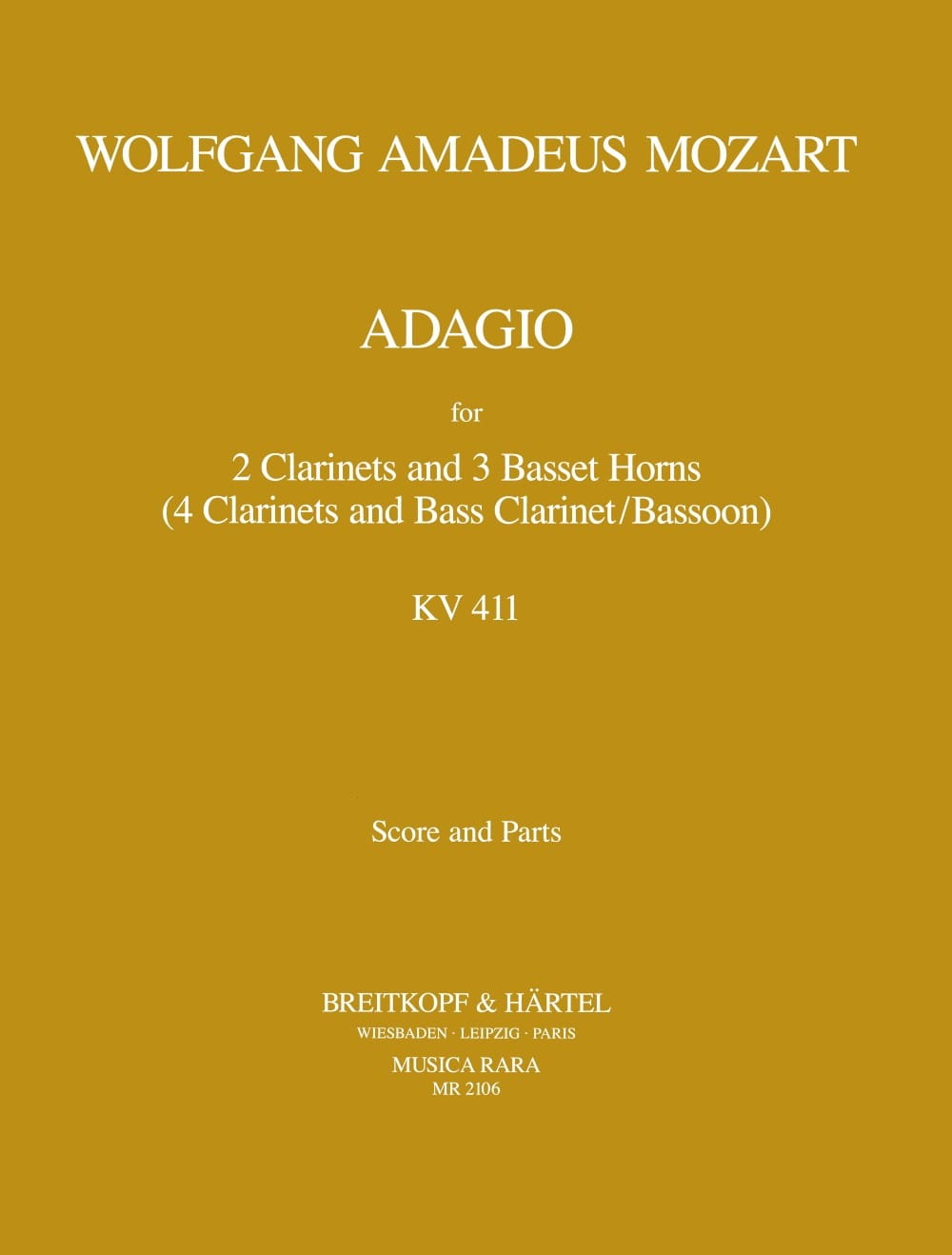 Adagio, Kv 484a 411 - 2 Clarinettes-3 Cors De Basset - laflutedepan.com