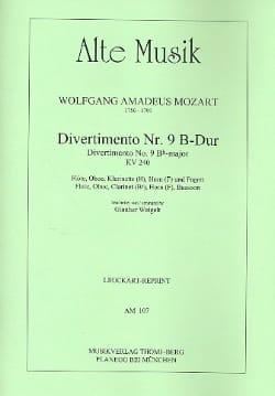 Divertimento Nr. 9 B-Dur KV 240 -Bläserquintett - Stimmen laflutedepan