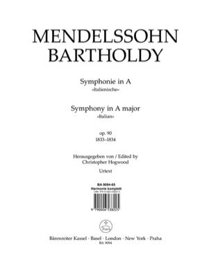 Symphonie En la Maj. Op 90 Italienne MENDELSSOHN laflutedepan