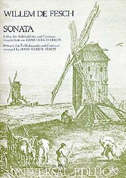 Sonata B-Dur Willem de Fesch Partition Flûte à bec - laflutedepan