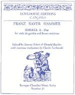 Sonate en la majeur Franz Xaver Hammer Partition laflutedepan