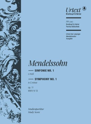 Symphonie N° 1 Op. 11 MENDELSSOHN Partition laflutedepan