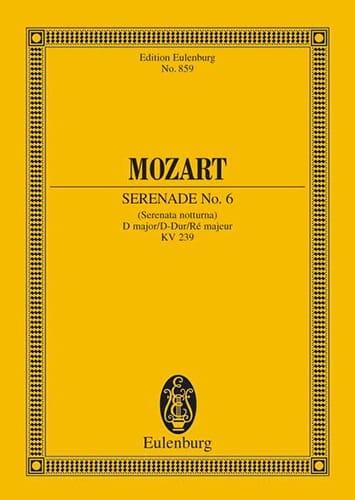Serenade Nr. 6 D-Dur KV 239 - Partitur - MOZART - laflutedepan.com