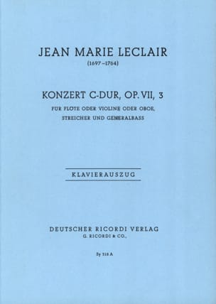 Concerto Do Majeur, Op. 7 N°3 LECLAIR Partition laflutedepan