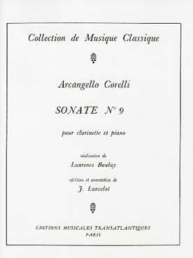 Sonate pour Clarinette n° 9 CORELLI Partition laflutedepan