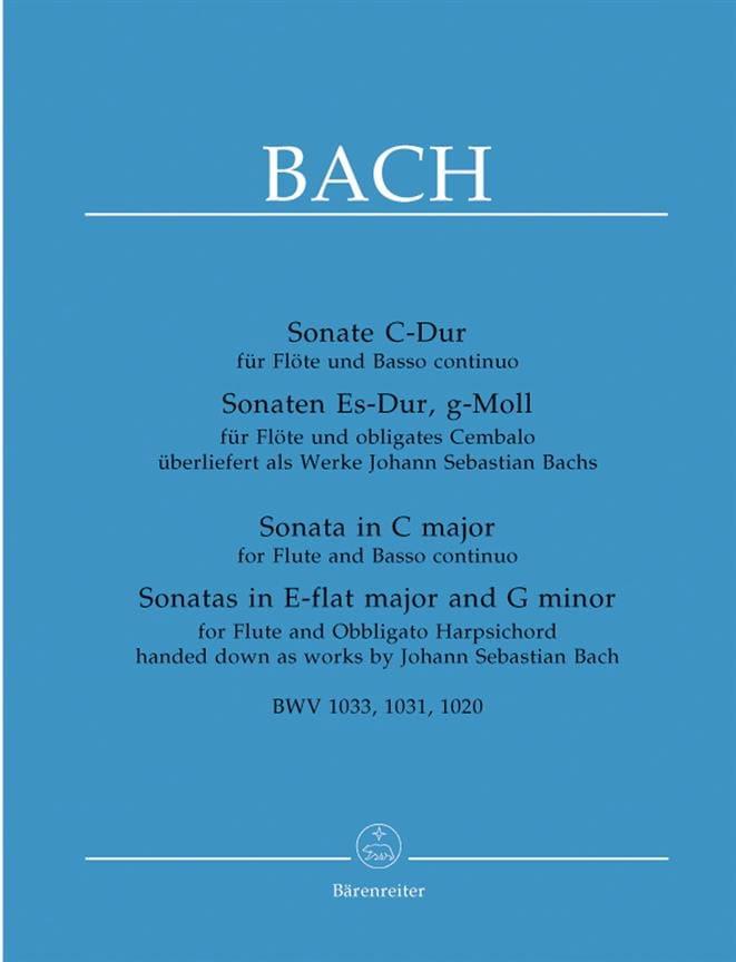 3 Sonates pour Flute et Basse continue piano - BACH - laflutedepan.com