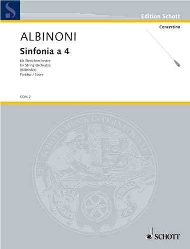 Sinfonia a 4 - Conducteur - ALBINONI - Partition - laflutedepan.com