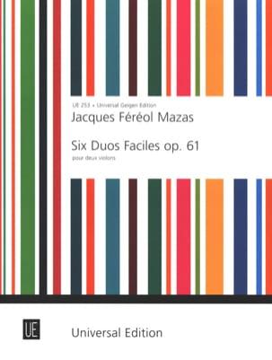 6 Duos faciles op. 61 MAZAS Partition Violon - laflutedepan