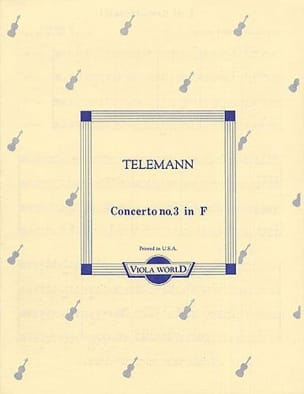 Concerto N° 3 In F - 4 Altos TELEMANN Partition Alto - laflutedepan