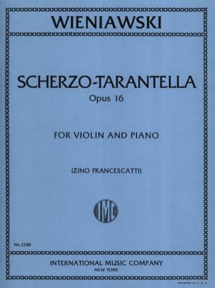 Scherzo-Tarantella op. 16 WIENAWSKI Partition Violon - laflutedepan