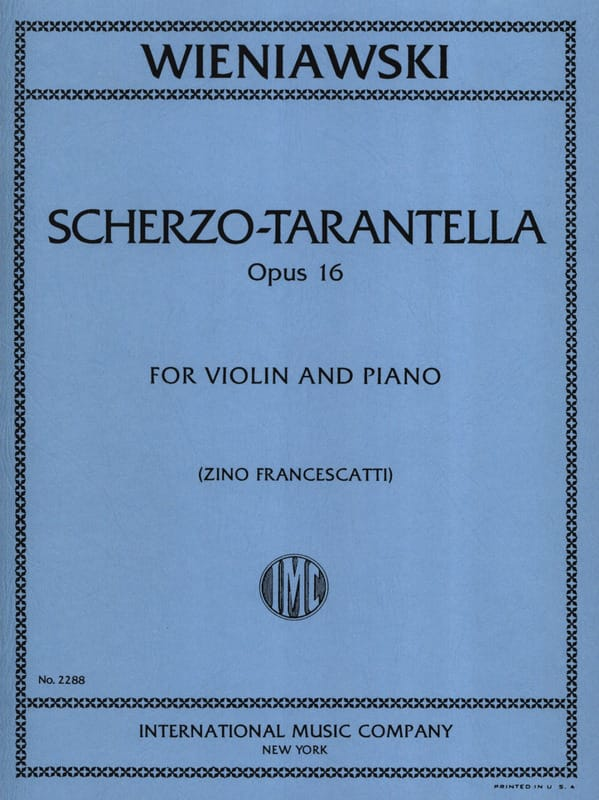 Scherzo-Tarantella op. 16 - WIENAWSKI - Partition - laflutedepan.com