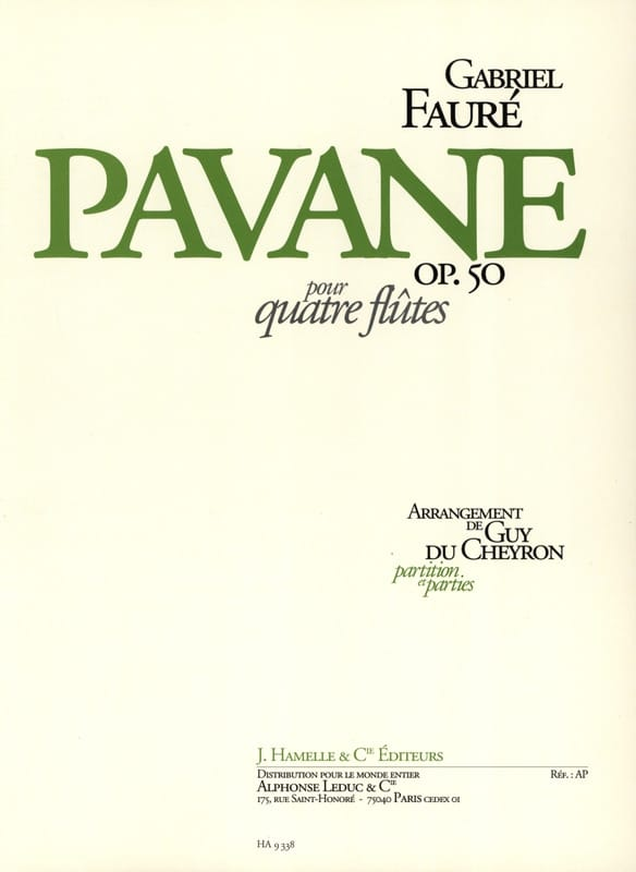 Pavane op. 50 - 4 Flûtes - FAURÉ - Partition - laflutedepan.com
