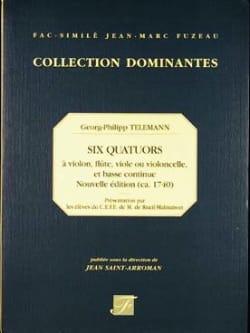 6 Quatuors - Vl, FL, V de g, Vlc, b.c. TELEMANN Partition laflutedepan