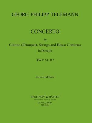 Konzert D-Dur - Trompette/Cordes/Bc TELEMANN Partition laflutedepan