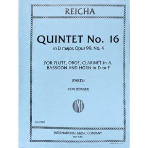 Quintet n° 16 op. 99 n° 4 in D major -Parts REICHA laflutedepan