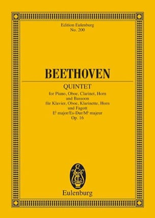Quintett Es-Dur, Op. 16 - Partitur BEETHOVEN Partition laflutedepan