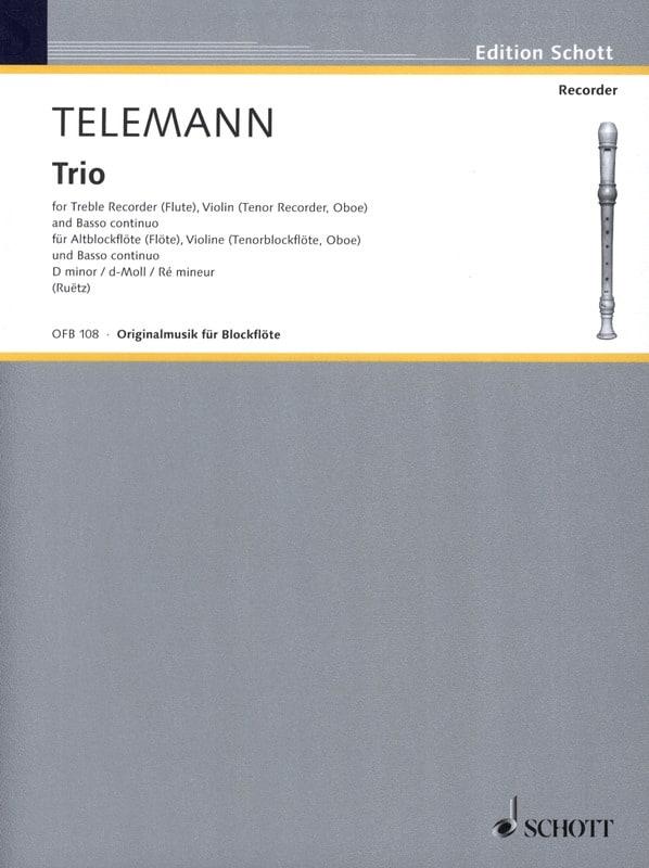 Trio d-moll - Alblockflöte Violine Bc - TELEMANN - laflutedepan.com