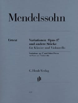 MENDELSSOHN - Variaciones op. 17 y otras piezas para piano y chelo - Partition - di-arezzo.es
