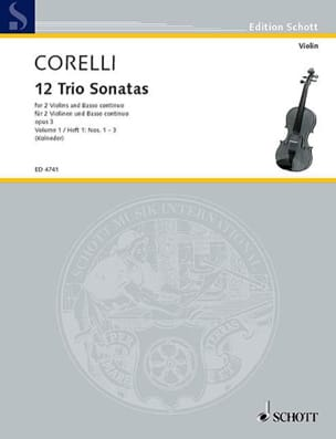 12 Triosonaten op. 3 - Bd. 1 : Nr. 1-3 -2 Violinen u. Bc laflutedepan